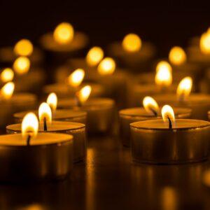 Christmas,Candles,Burning,At,Night.